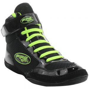 Par de Zapatillas CORTA profesional para Boxeo Negro/Verde