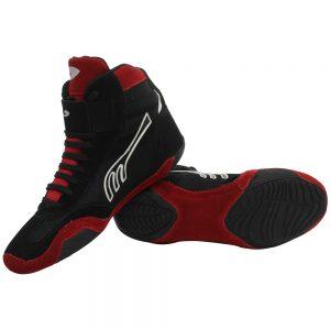 Par de Zapatillas CORTA profesional para Boxeo Negra/Rojo