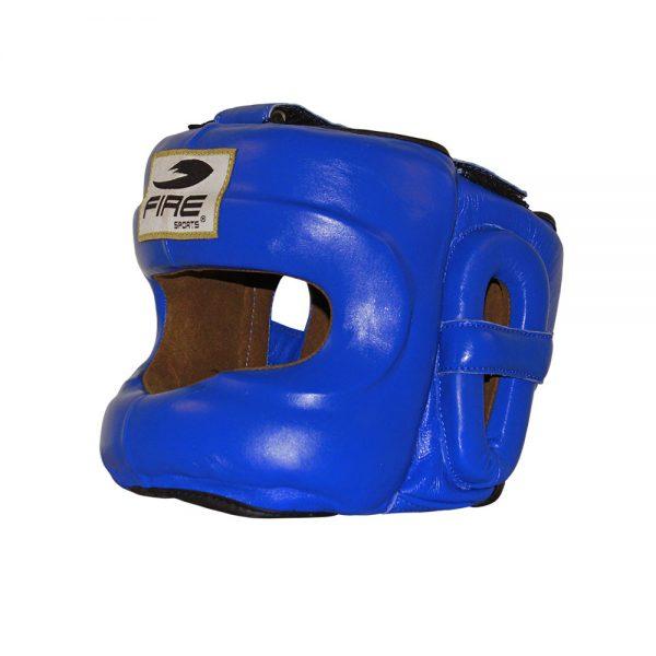 Careta de piel con barra Azul Mediana