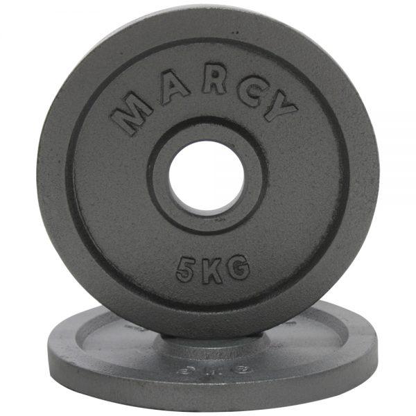 Par de Discos Olimpicos de Metal Marcy 5kg Gris-Plata