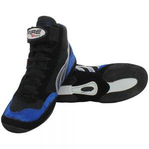 Par de Zapatillas CORTA profesional para Boxeo Negro/Azul