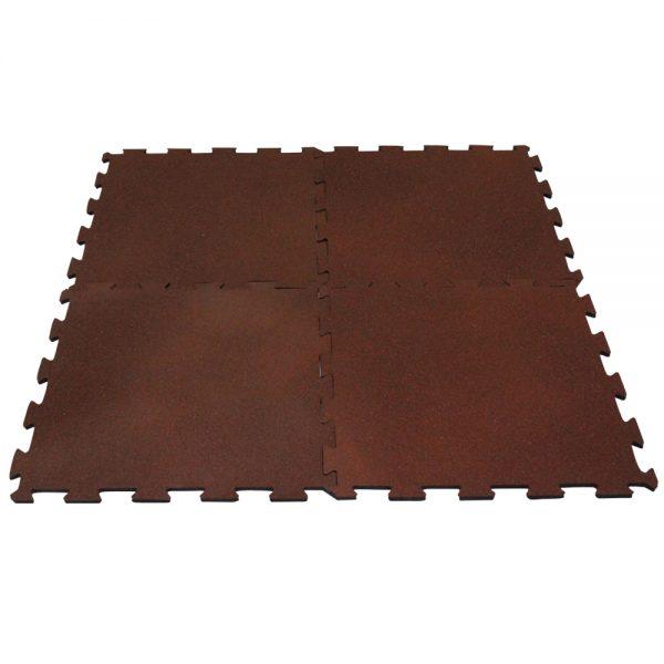 1m2 de piso tipo puzzle de caucho para gimnasio Marrón-Rojo