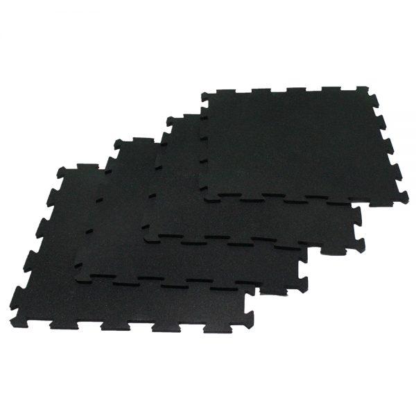 1m2 de piso tipo puzzle de caucho para gimnasio Negro