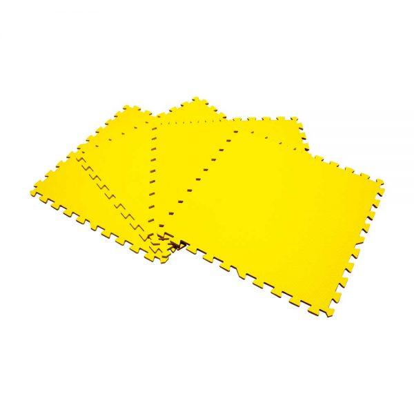Piso suela de eva foam tipo puzzle. Set de 4 pzas, color amarillo