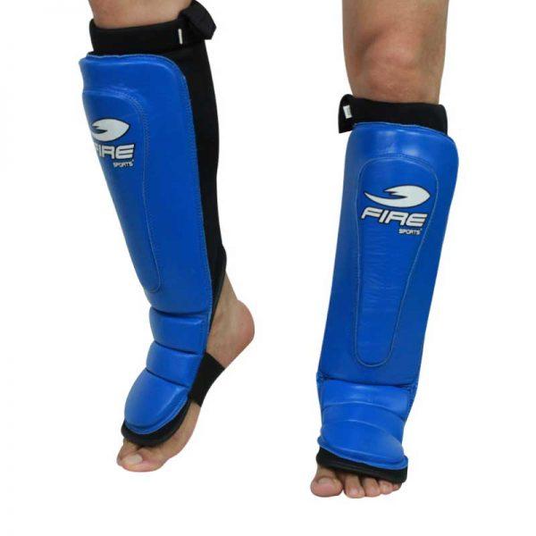 Par de espinilleras de PIEL tipo calceta Azul