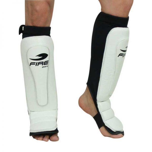 Par de espinilleras de PIEL tipo calceta color Blanco