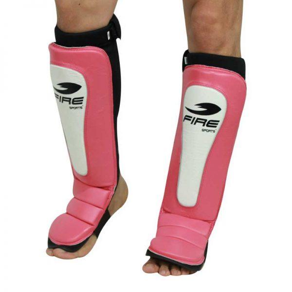 Par de espinilleras de PIEL tipo calceta Rosa