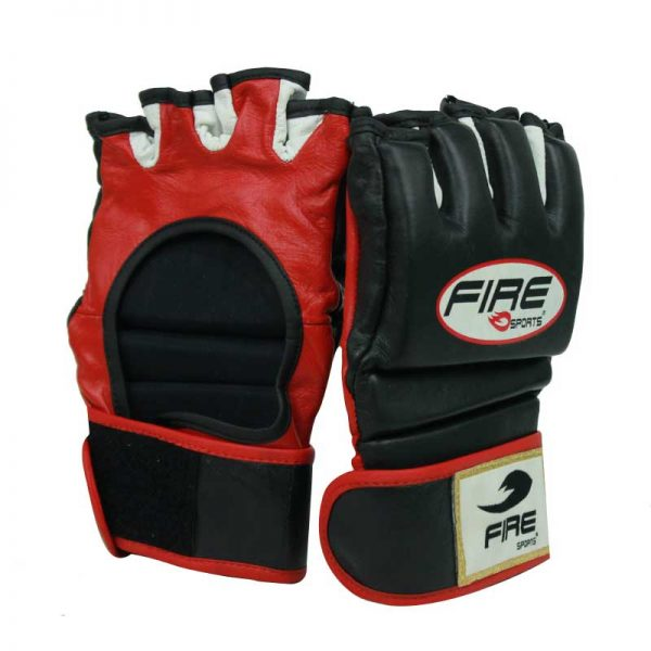 Guantes de piel para MMA Negro/Rojo