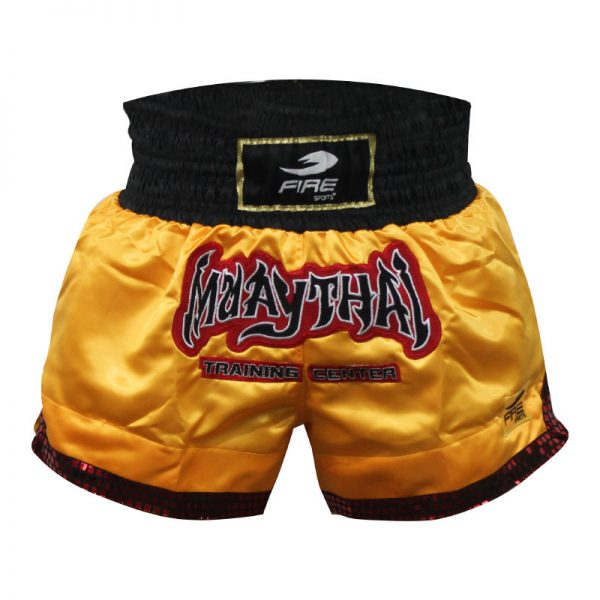Short deportivo para Muay Thai y Kick boxing (pantalón corto) AMARILLO