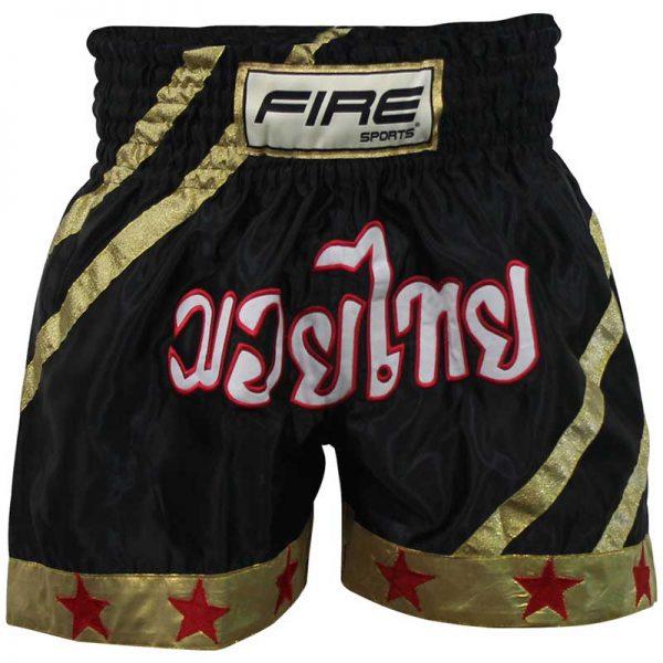 Short deportivo para Kick boxing (pantalón corto)  NEGRO-DORADO