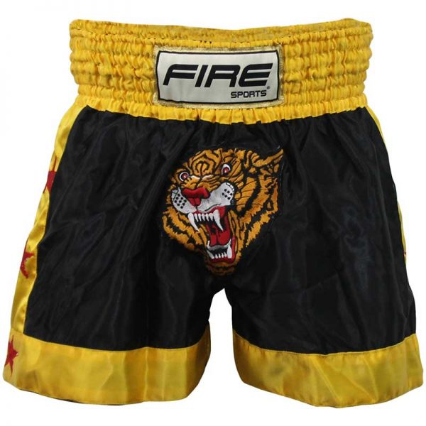 Short deportivo para Kick boxing (pantalón corto) NEGRO-TIGRE