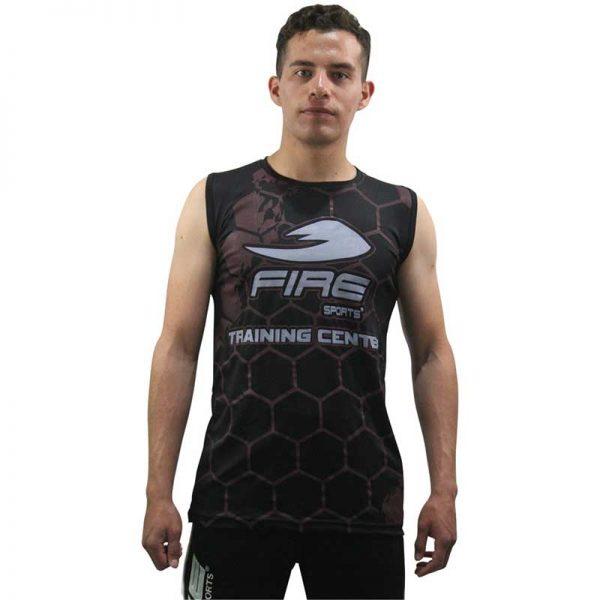 Playera o Camiseta Deportiva de clase Training Center Fire Sports Negro sin mangas