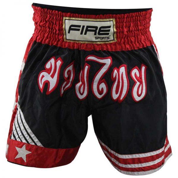 Short deportivo para Kick boxing (pantalón corto) Negro/Rojo