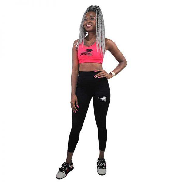 Conjunto Deportivo Fitness Fire Sports® (leggin Y Top) Rosa/Negro